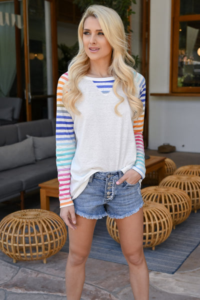 Chasing Rainbows Colorful Raglan - White women's multicolor striped raglan, Closet Candy Boutique 4