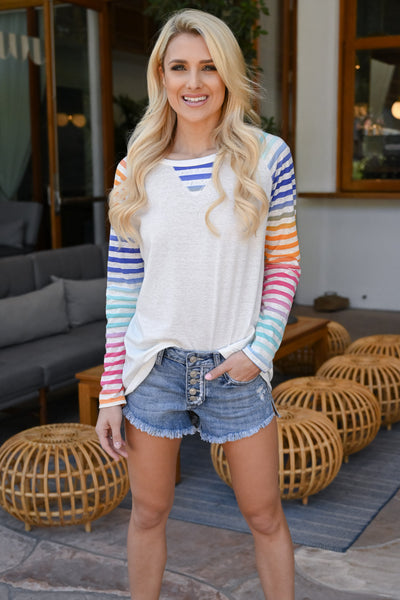 Chasing Rainbows Colorful Raglan - White women's multicolor striped raglan, Closet Candy Boutique 1
