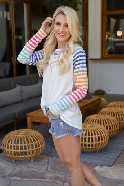 Chasing Rainbows Colorful Raglan - White women's multicolor striped raglan, Closet Candy Boutique 2