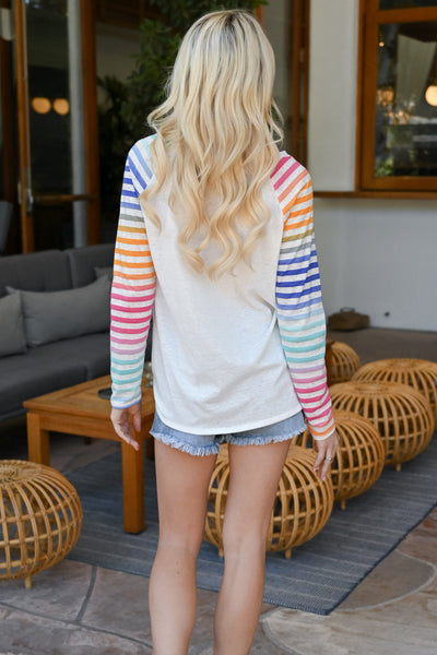 Chasing Rainbows Colorful Raglan - White women's multicolor striped raglan, Closet Candy Boutique 3