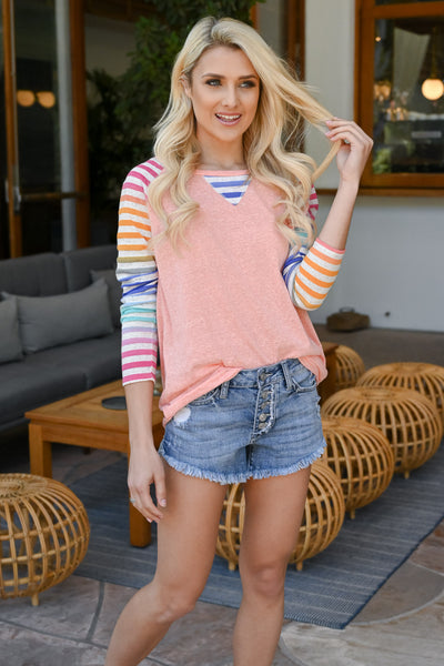 Chasing Rainbows Colorful Raglan - Coral women's multicolor striped raglan, Closet Candy Boutique 4