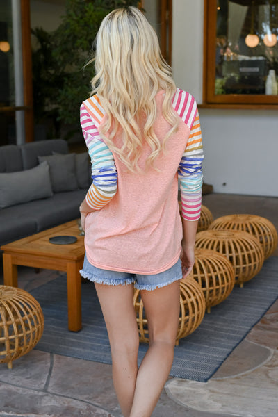 Chasing Rainbows Colorful Raglan - Coral women's multicolor striped raglan, Closet Candy Boutique 5