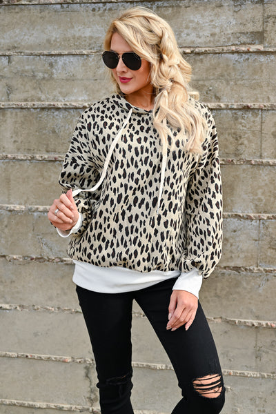On My Own Leopard Hoodie - Taupe womens casual hooded long sleeve leopard pullover closet candy front 2