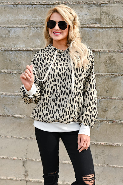 On My Own Leopard Hoodie - Taupe womens casual hooded long sleeve leopard pullover closet candy front 3