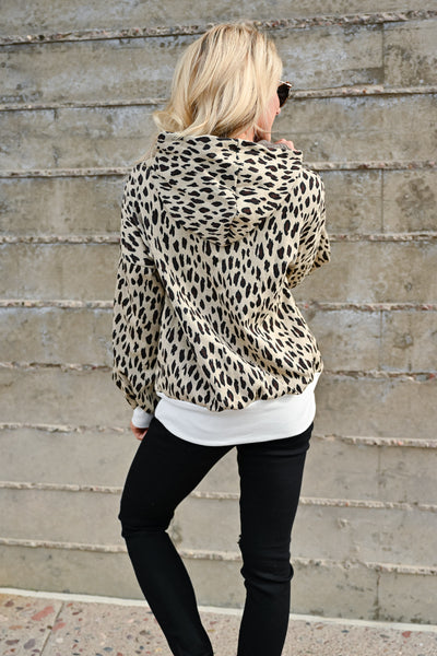 On My Own Leopard Hoodie - Taupe womens casual hooded long sleeve leopard pullover closet candy back