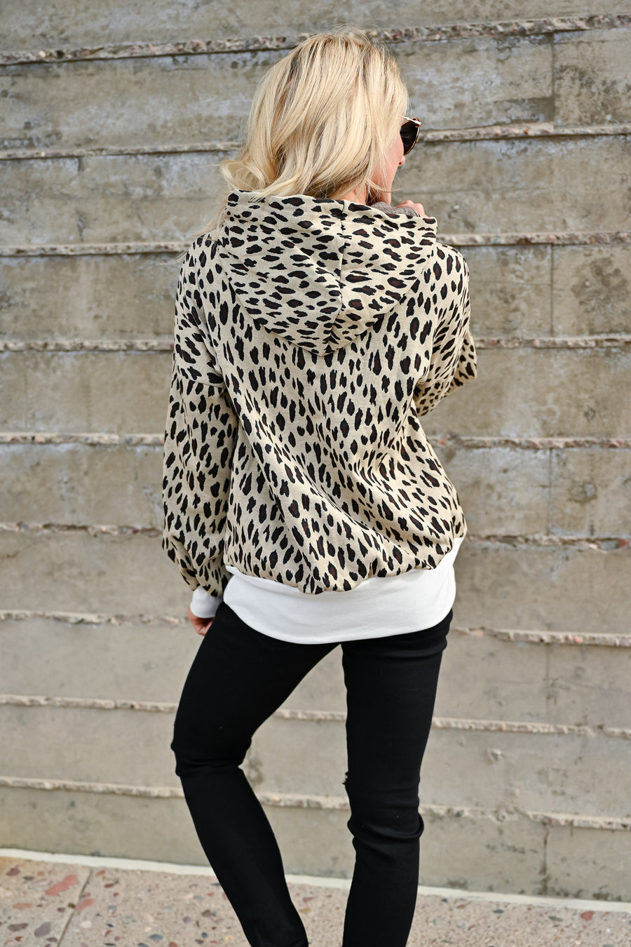 On My Own Leopard Hoodie - Taupe womens casual hooded long sleeve leopard pullover closet candy front