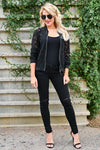 Chic Statement Lace Bomber Jacket - Black womens trendy long sleeve sheer lace zipper front jacket closet candy front