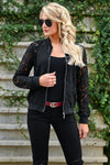 Chic Statement Lace Bomber Jacket - Black womens trendy long sleeve sheer lace zipper front jacket closet candy front 2