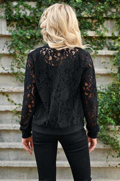 Chic Statement Lace Bomber Jacket - Black womens trendy long sleeve sheer lace zipper front jacket closet candy back