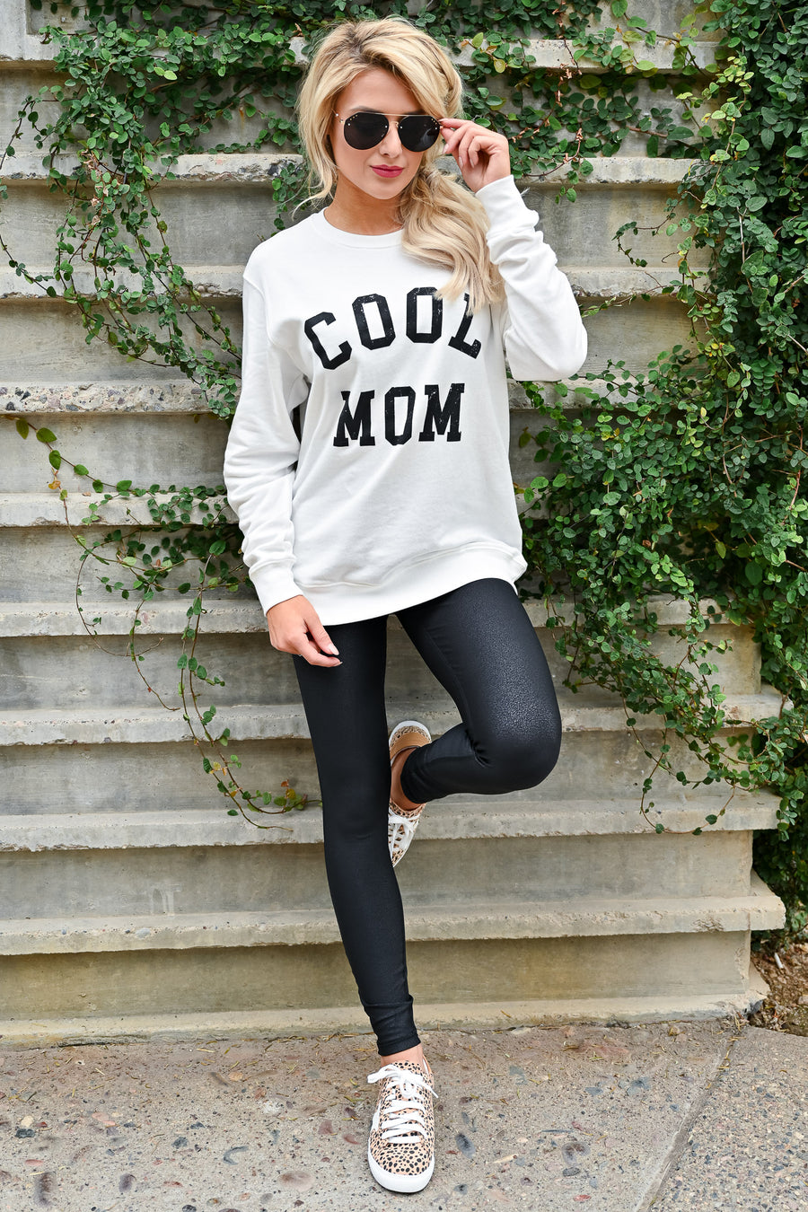 """Cool Mom"" Sweatshirt - White womens casual round neckline long sleeve graphic sweatshirt closet candy sitting"