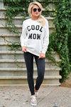 """Cool Mom"" Sweatshirt - White womens casual round neckline long sleeve graphic sweatshirt closet candy front 2"