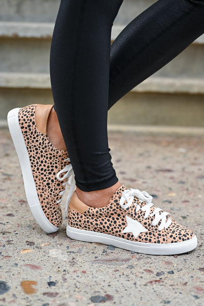 You're A Rockstar Sneakers - Spotted Leopard womens casual lace up star design sneakers closet candy side