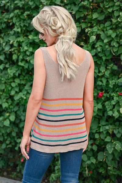 Festival Plans Striped Tank - Taupe womens casual striped knit tank top closet candy back