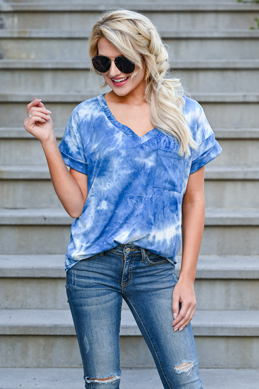Close To You Tie Dye Top - Blue womens casual short sleeve v-neck front pocket comfortable tshirt closet candy sitting