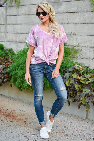 Close To You Tie Dye Top - Pink womens casual short sleeve  v neck tie dye tshirt closet candy front 2