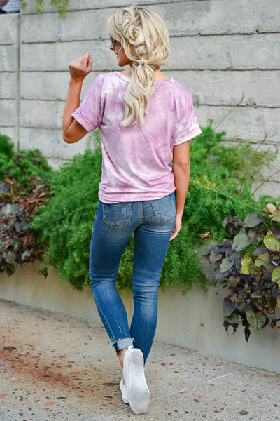 Close To You Tie Dye Top - Pink womens casual short sleeve  v neck tie dye tshirt closet candy back