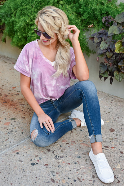 Close To You Tie Dye Top - Pink womens casual short sleeve  v neck tie dye tshirt closet candy sitting