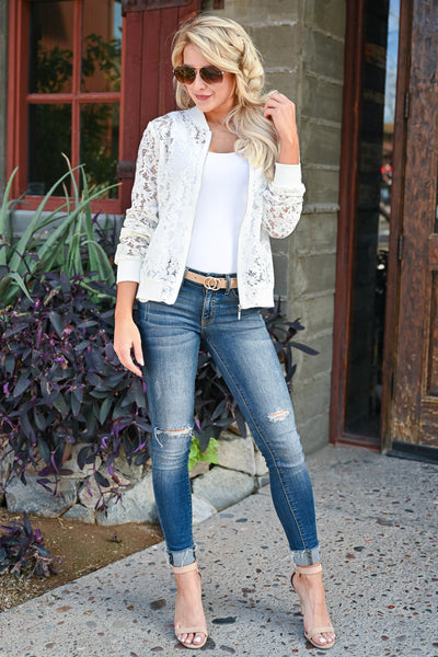 Chic Statement Lace Bomber Jacket - White womens trendy long sleeve sheer lace detail zipper bomber jacket closet candy front 2