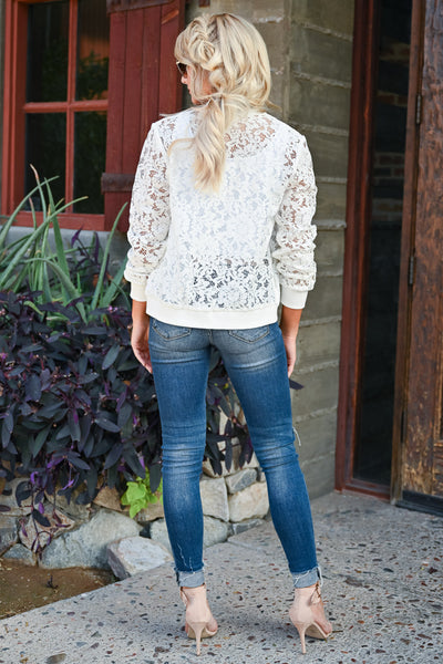 Chic Statement Lace Bomber Jacket - White womens trendy long sleeve sheer lace detail zipper bomber jacket closet candy back