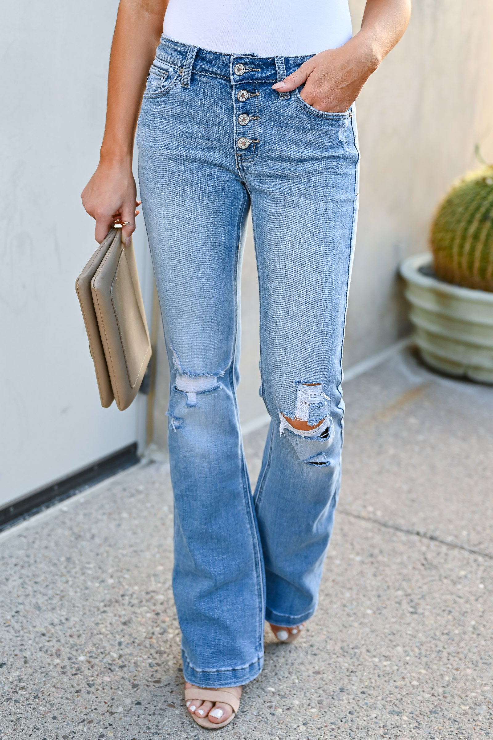 Kan Can Ana Distressed Flare Jeans Light Wash Closet Candy Boutique