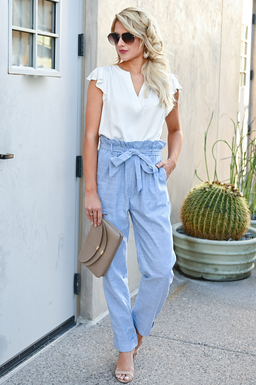 Boardwalk Stroll Pants - Light Blue womens trendy stripe detail self-tie belt pants with pockets closet candy side