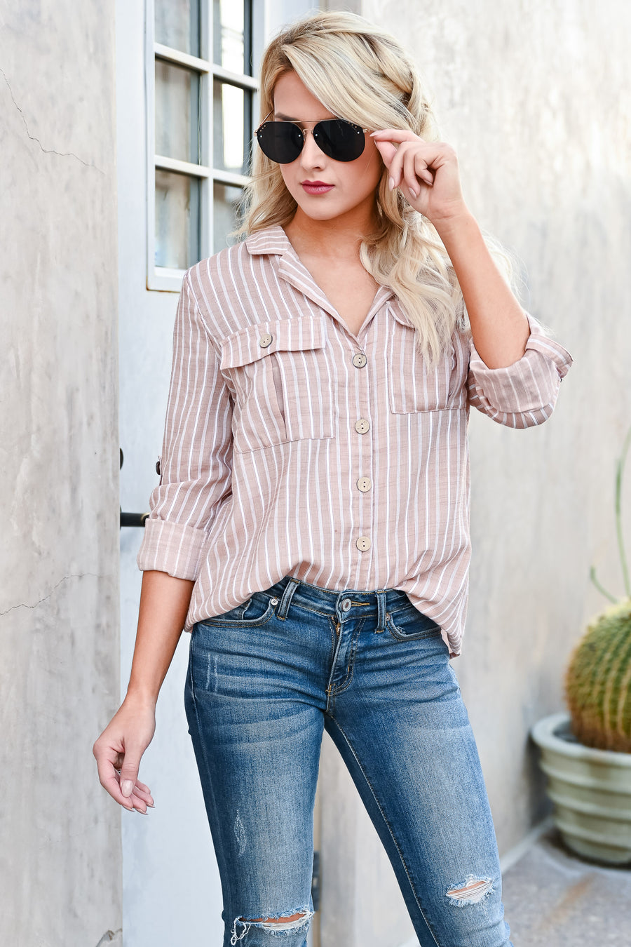 All Around The World Striped Top - Latte womens casual button up collared long sleeve front pocket blouse closet candy front