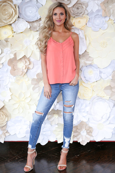 Light A Spark Cami - Coral v-neck button down camisole, outfit, Closet Candy Boutique