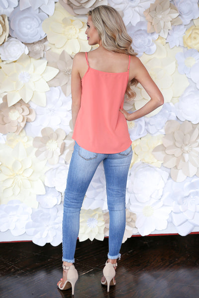 Light A Spark Cami - Coral v-neck button down camisole, back, Closet Candy Boutique