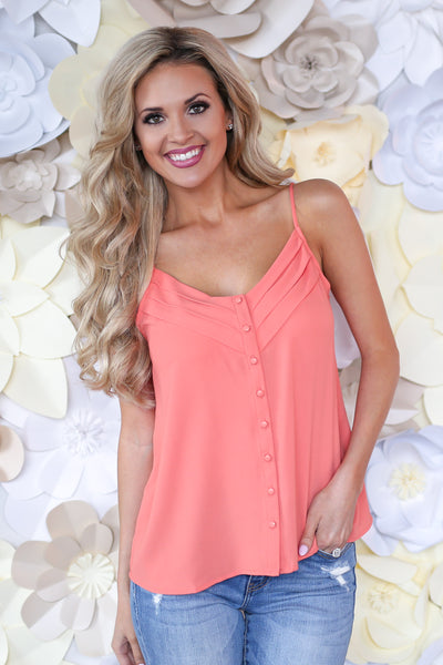 Light A Spark Cami - Coral v-neck button down camisole, front, Closet Candy Boutique