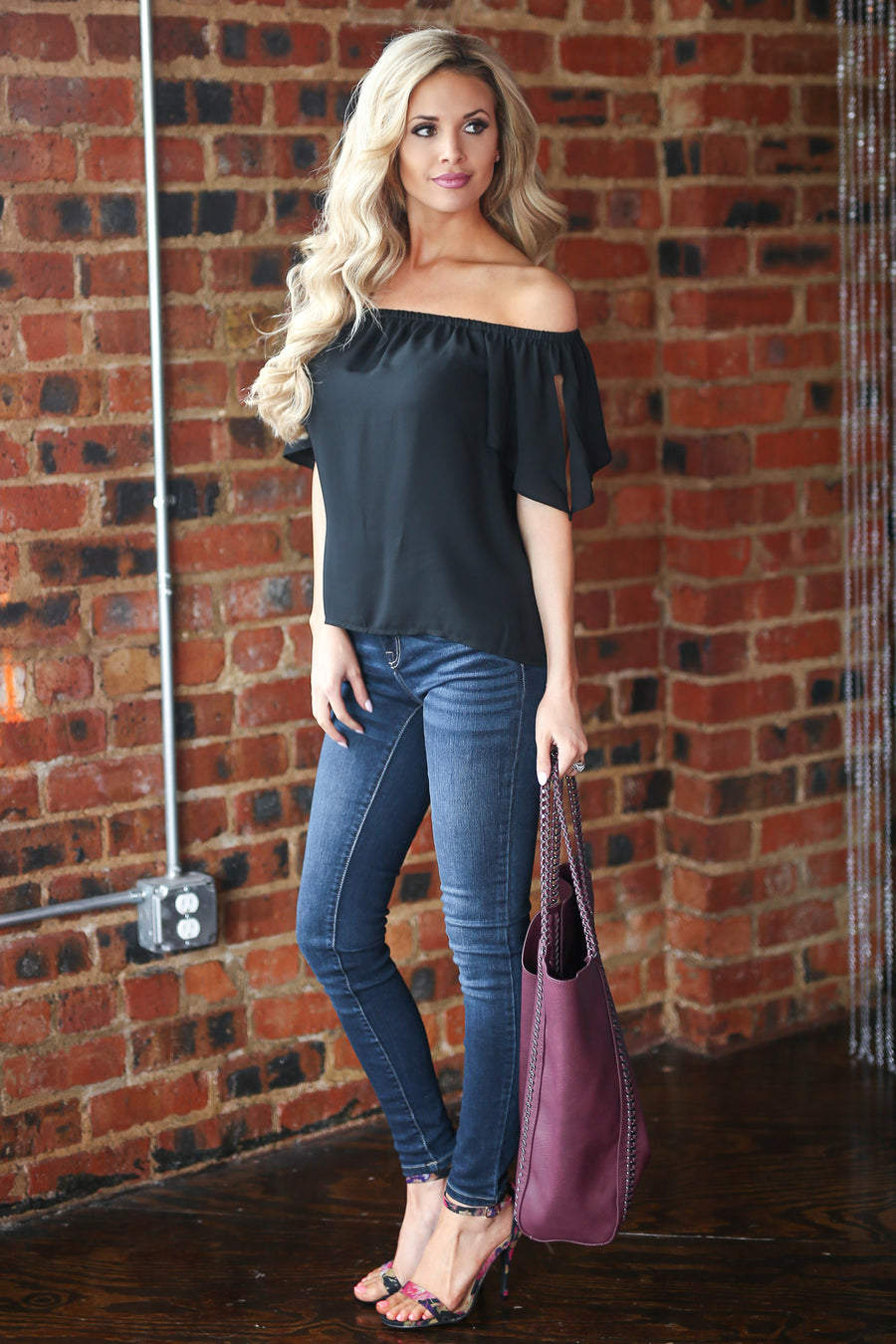 At Sea Top - Black off the shoulder tie sleeve top, outfit, Closet Candy Boutique