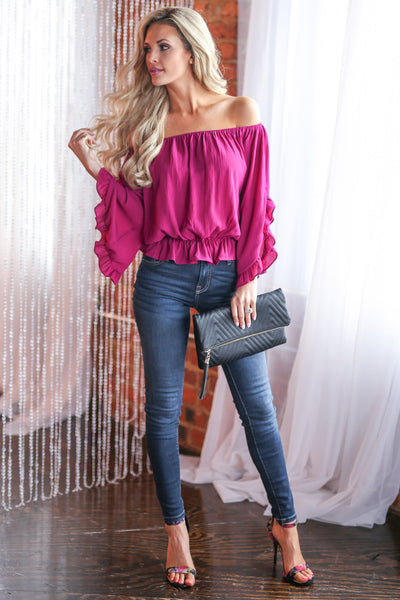 Can't Get Enough Top - Fuchsia off the shoulder ruffle sleeve top, outfit, Closet Candy Boutique