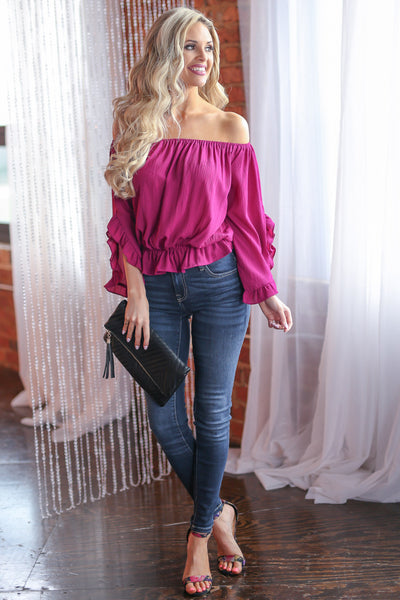 Can't Get Enough Top - Fuchsia off the shoulder ruffle sleeve top, front, Closet Candy Boutique