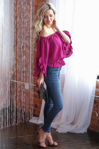 Can't Get Enough Top - Fuchsia off the shoulder ruffle sleeve top, side, Closet Candy Boutique