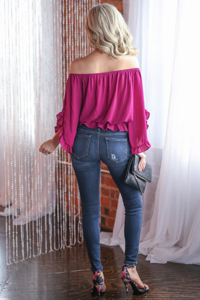 Can't Get Enough Top - Fuchsia off the shoulder ruffle sleeve top, back, Closet Candy Boutique
