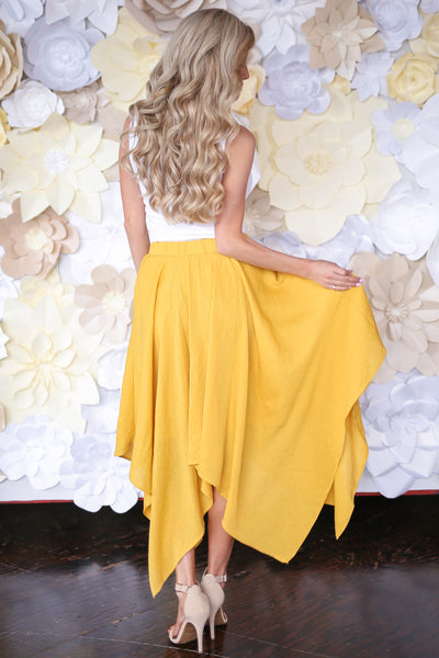 Sierra Nevada Skirt - Mustard handkerchief hem skirt, back, Closet Candy Boutique