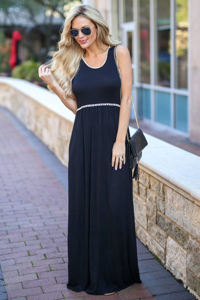 Vacation Days Maxi Dress - Black tank maxi dress, front, Closet Candy Boutique