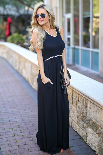 Vacation Days Maxi Dress - Black tank maxi dress, side, Closet Candy Boutique