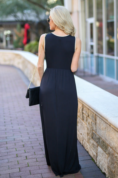 Vacation Days Maxi Dress - Black tank maxi dress, back, Closet Candy Boutique
