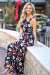 Somewhere In Paradise Maxi Dress - Black floral print maxi dress, front, Closet Candy Boutique