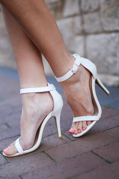 Love Sick Heels - cute white strappy heels, side, Closet Candy Boutique