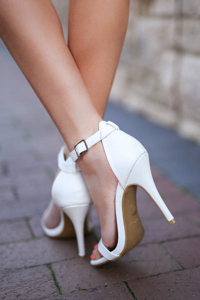 Love Sick Heels - cute white strappy heels, back, Closet Candy Boutique