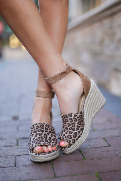 Place In My Heart Wedges - Cheetah print peep toe wedges, front, Closet Candy Boutique