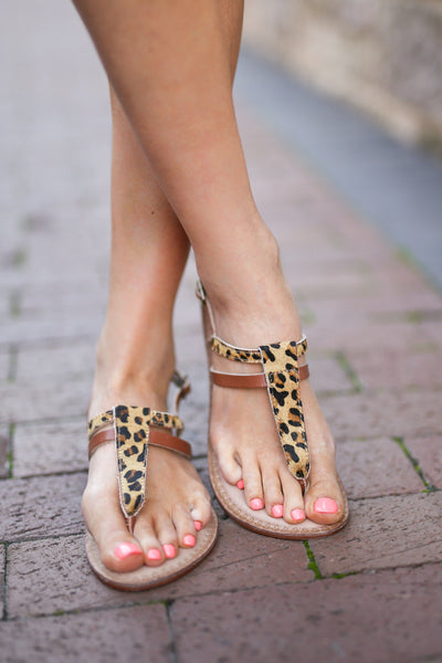 NAUGHTY MONKEY All That & Some Sandals - Leopard print sandals, front, Closet Candy Boutique