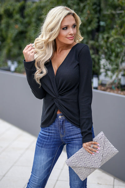 Simple Twist Of Fate Top - Black women's long sleeve top with twisted front, Closet Candy Boutique 2