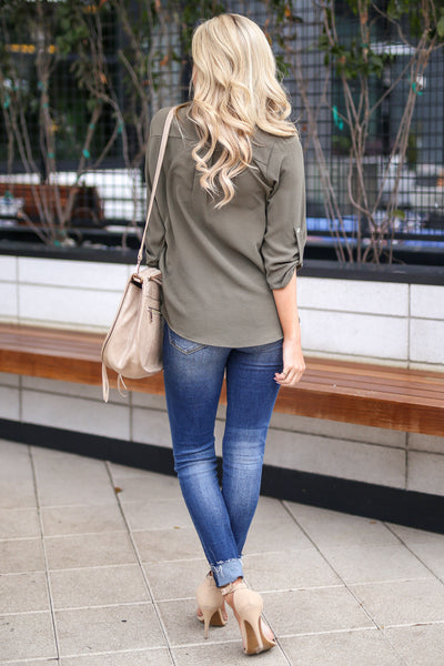 Desk to Dawn Top - Olive v-neck work top, cute outfit, Closet Candy Boutique 3