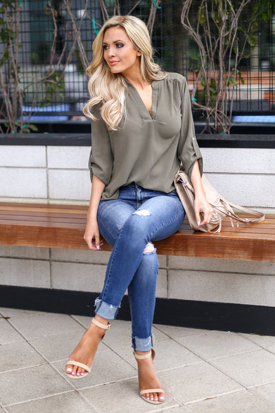 Desk to Dawn Top - Olive v-split top, cute outfit, Closet Candy Boutique 1