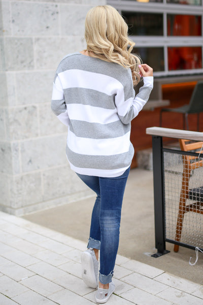 North Shore Striped Sweater - Heather Grey & white women's v-neck stripe print sweater, Closet Candy Boutique 4