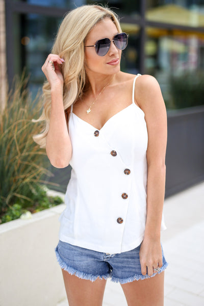 Imagine This Button-Up Cami - Ivory women's v-neck tank top, Closet Candy Boutique 1