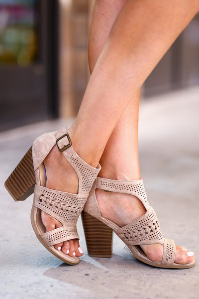 Kira Peep Toe Heels - Cream women's laser-cut out, braided sandals, Closet Candy Boutique 2