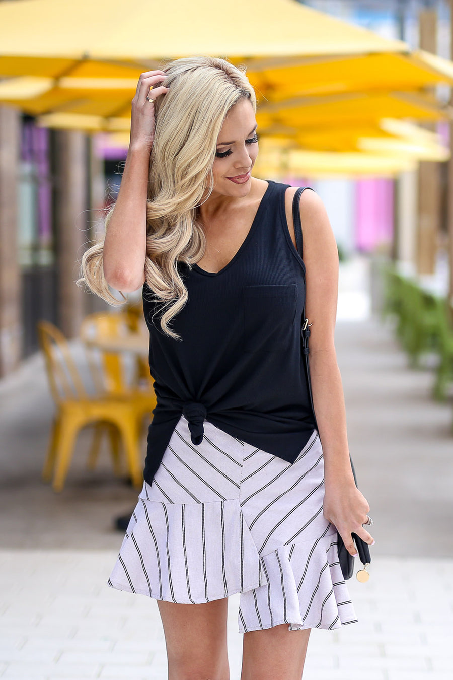 On My Way Up Striped Skirt - Natural & Black women's asymmetrical ruffled hem skirt, Closet Candy Boutique 1